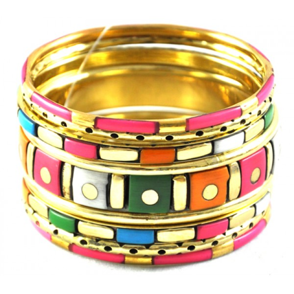women rajputani bangle bangles girls work dulhan for yellow kundan dp thread pink orange set violet fashion buy golden and