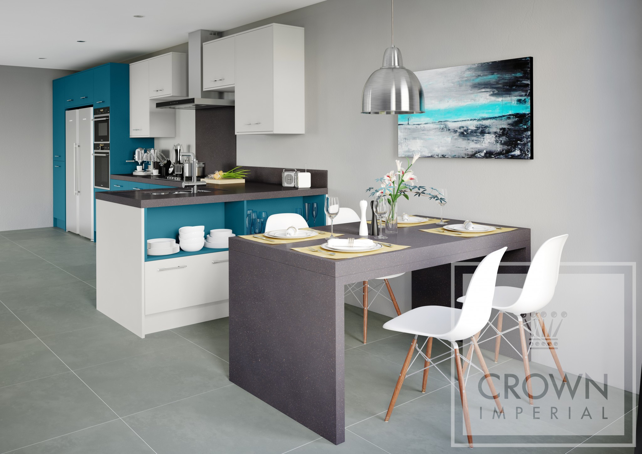 Rococo The Kitchen Centre - Teal and grey kitchen